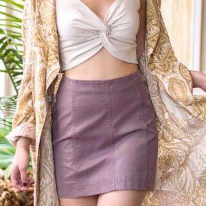 Free People Modern Femme Denim Purple Mini Skirt